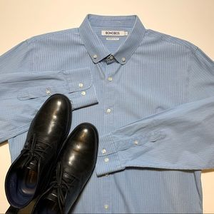 BONOBOS Men's Dress Shirt Blue Large